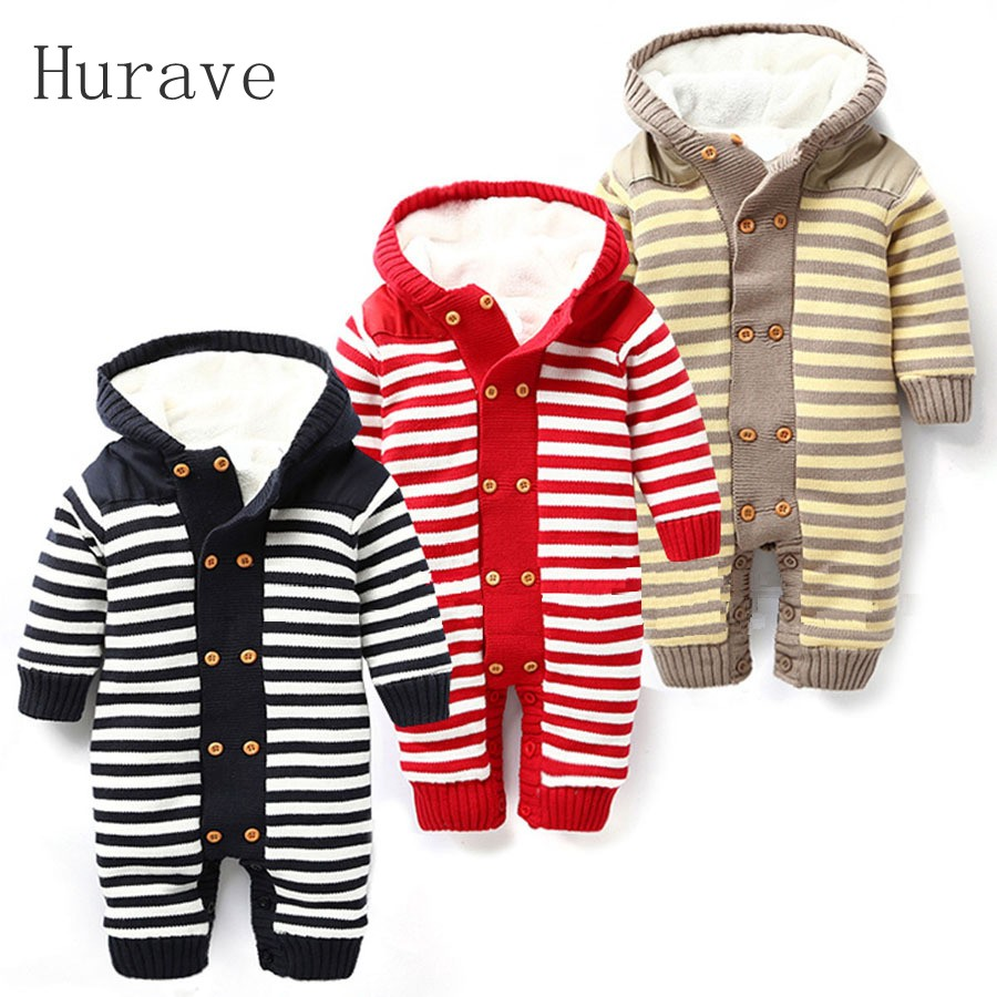 Hurave Autumn and winter Baby Girl Boys Outwear Thick Warm Striped Fleece for Winter Knitted Sweater Kids Infant Hooded Clothes children autumn and winter warm clothes boys and girls thick cashmere sweaters