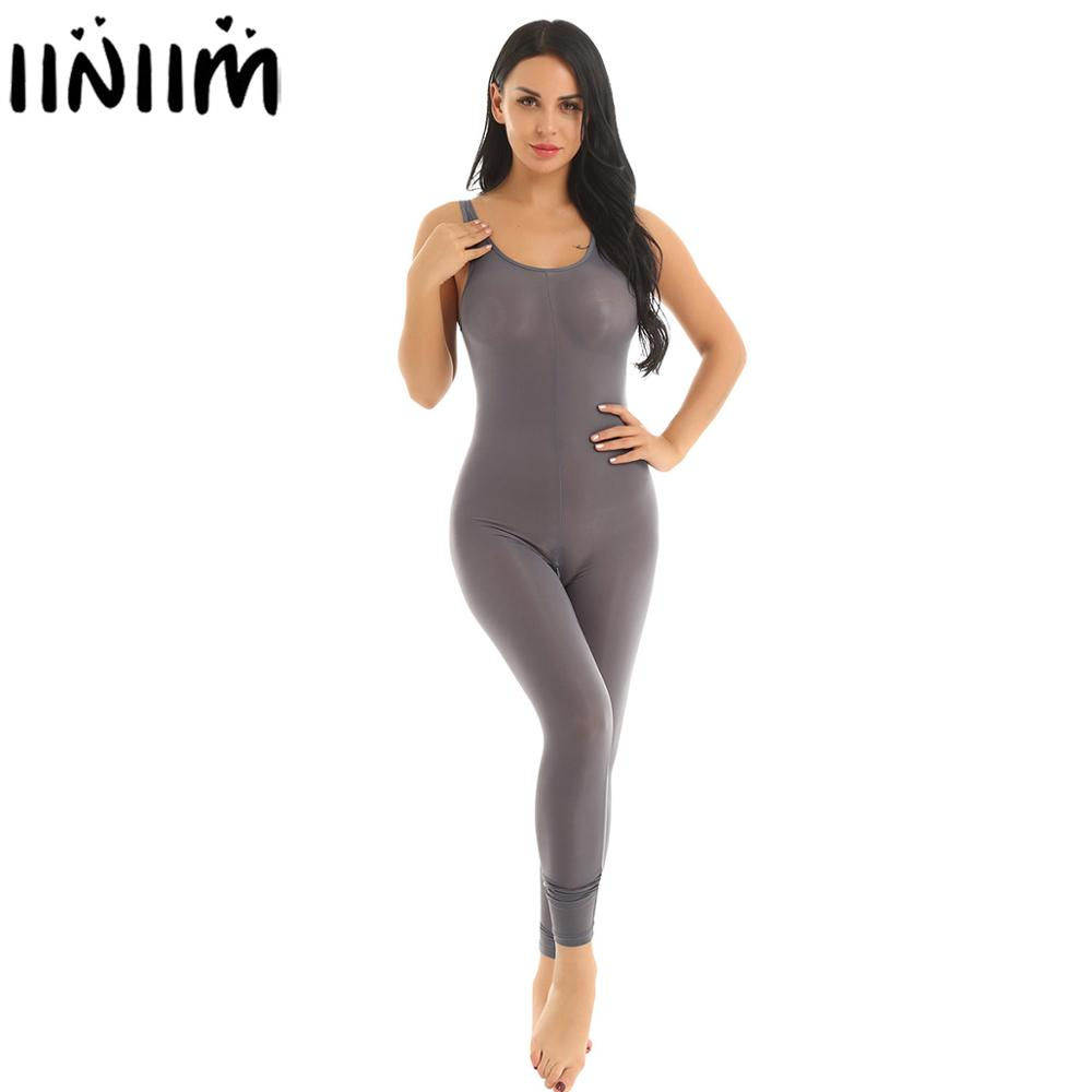 Womens Honey Sexy Costumes See Through Sheer Lingerie Bodystocking Scoop Neck Zipper Crotch Smooth Tank Leotard Catsuit Bodysuit