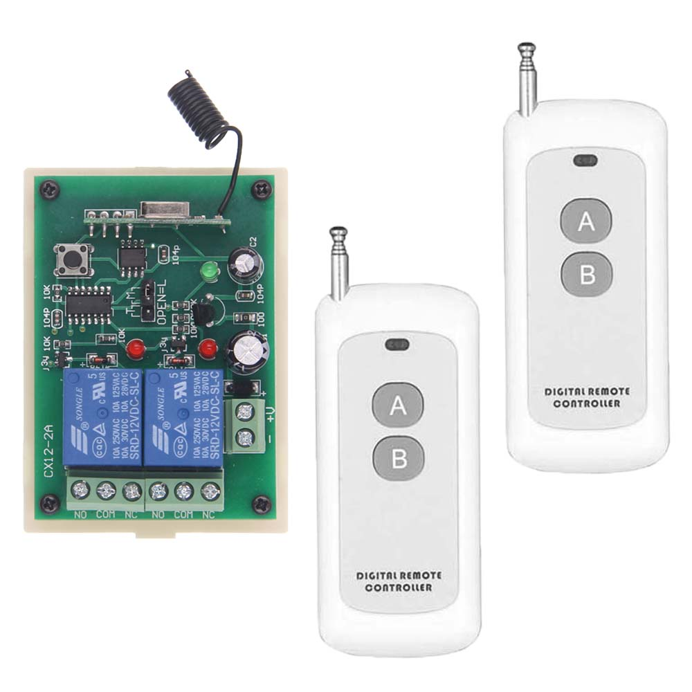 Remote Control Switch 12V 24V DC 2CH 2CH Relay RF Receiver Long Range Transmitter 0-500m Soldering Code remote control switches dc 12v 2ch receiver long range remote control transmitter 50 1000m 315 433 rx tx 2ch relay learning code