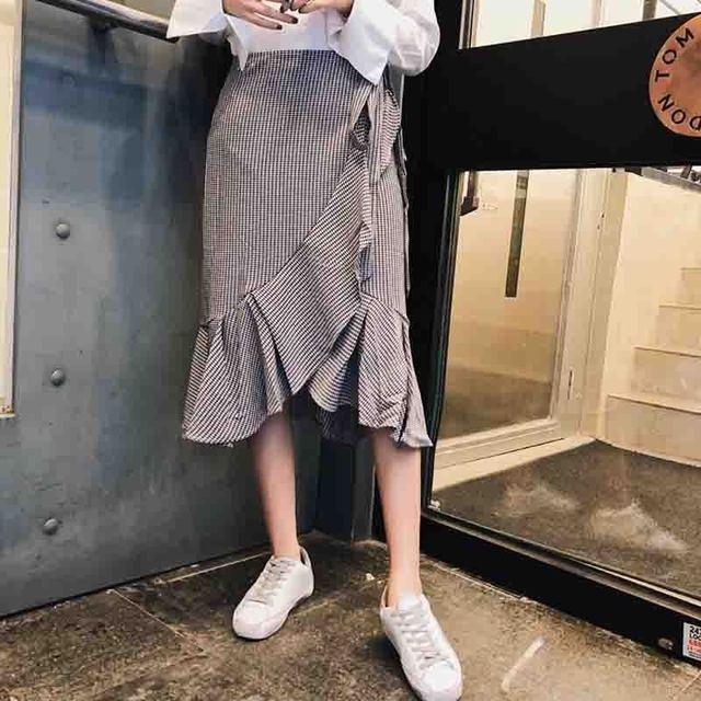 [Пр] 2018 новые босоножки весенние юбки рябить украшения женские плавки Высокая талия Асимметричная юбка нерегулярные плед юбка A739