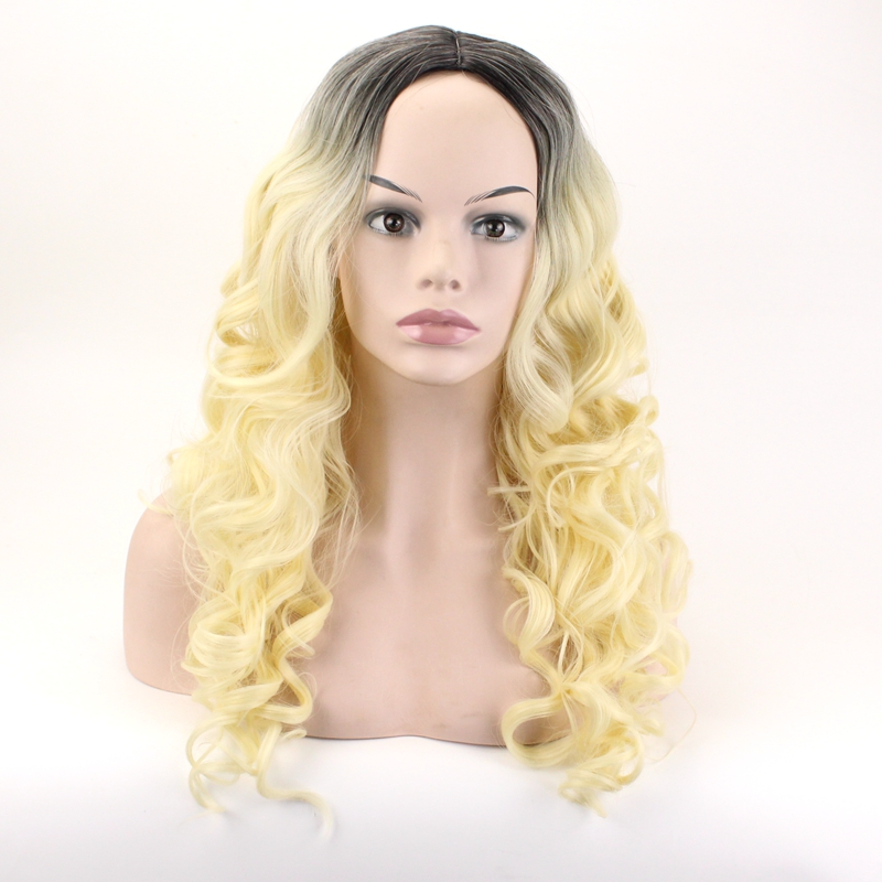 JOY&BEAUTY Heat Resistant Synthetic Wigs 26 Black Root Ombre Brown White Gray Blue Green Yellow Red Purple Long Wavy Wig