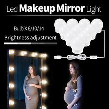USB LED Mirror Wall Lamp DC 12V Makeup Mirror Vanity LED Light Bulbs 6 10 14 Bulbs Stepless Dimmable Touch Control Makeup Light dimmable hollywood makeup vanity mirror with light large lighted tabletop cosmetic mirror with 9pcs touch control led bulbs