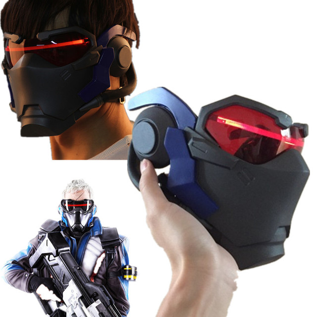2017 high quality Athemis Soldier 76 cosplay Mask High quality and same as original Game cosplay  luminous mask