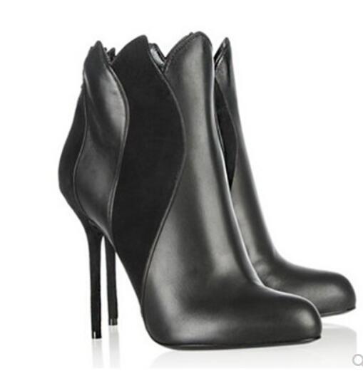 Pointu Bottes Noir Hauts De Leather Inside Cheville Moto Flamme Talons Bout Chaussures Automne Femmes En Nouveau Bottines Sho Cuir qvw1AHHC