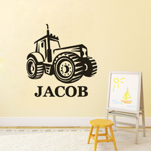 Personalized Name Wall Sticker Farm Tractor Vinyl Decal Boys Room Decor Design Poster Custom Mural AY1616