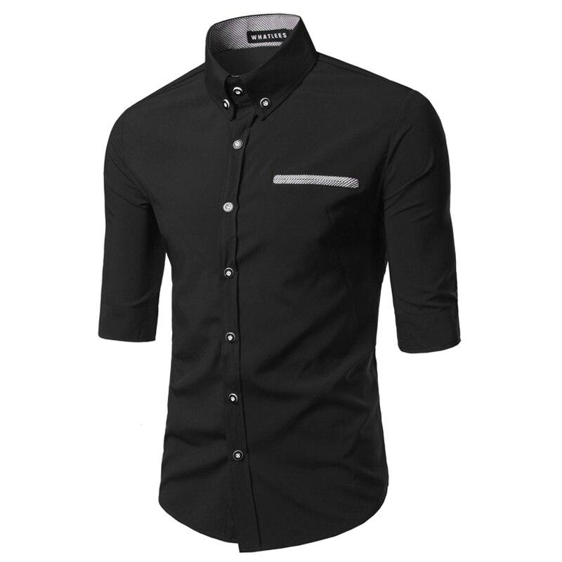 Hot Sale 2016 Spring New Fashion Casual Slim Fit Three Quarter Sleeve Mens Dress Shirts Korean Leisure Styles Shirt M-XXXL C14