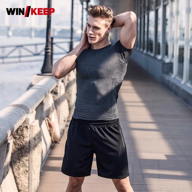 Summer Men Professional Flexible Fitness Tracksuit Slim Fit Quick Dry Short Sleeve Sportswear Gym Bodybuilding Jogging Male Suit