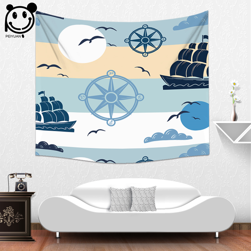 PEIYUAN High Quality Printing Ocean Design Children and Rafts Polyester Fabric Cartoon Tapestries Wall Hanging Cloth Tapestry