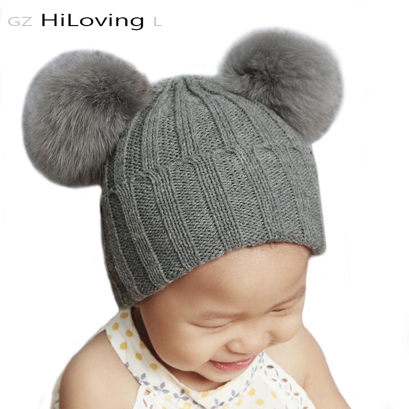 GZHiLOVINGL Autumn Winter Beanie Hat For Baby Girls Boys Kids Fox Fur Pompom Knitted Hats Soft Kids Girls Real Fur Pom pom Cap baby thick kids knitted hats for winter with 12cm real fox fur pom poms baby caps good quality cashmere boys girls beanie hats