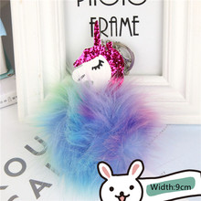 Cute Unicorn Sequins Pom Pom Key Ring Colorful Stuffed Unicorn Doll Kids Toys Girls Bag Hang Pendant Key Chain Speelgoed Gift(China)