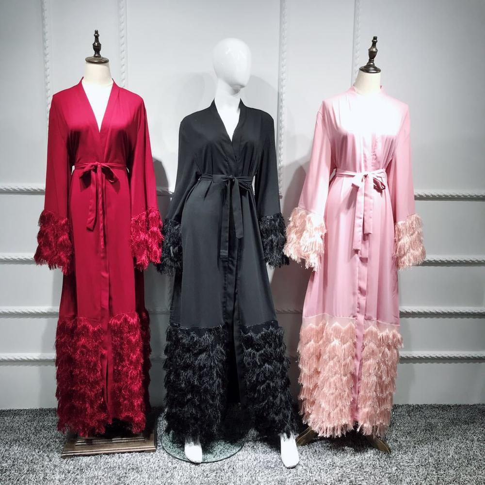 Tassel Kaftan Dubai Abaya Kimono Robe Muslim Hijab Muslim Women's Abaya