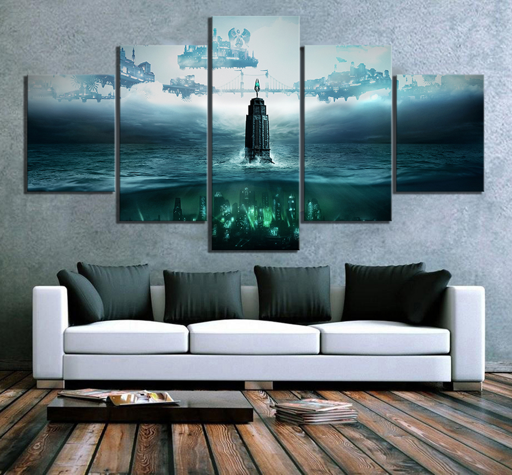 5 Piece HD Fantasy Art Steampunk Style Pictures BioShock The Collection Video Game Poster Canvas Paintings for Wall Decor 2