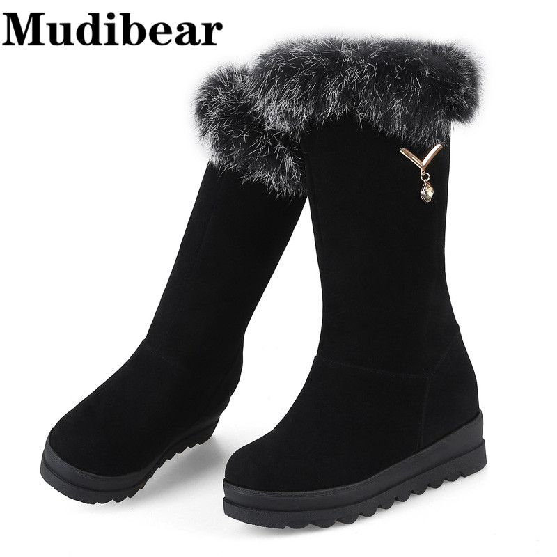 Mudibear Snow Boots For Woman Winter Boot Short Plush Inside Warm Shoes Women Fashion Shoes Sexy Lady High Heels Knee High Boot купить
