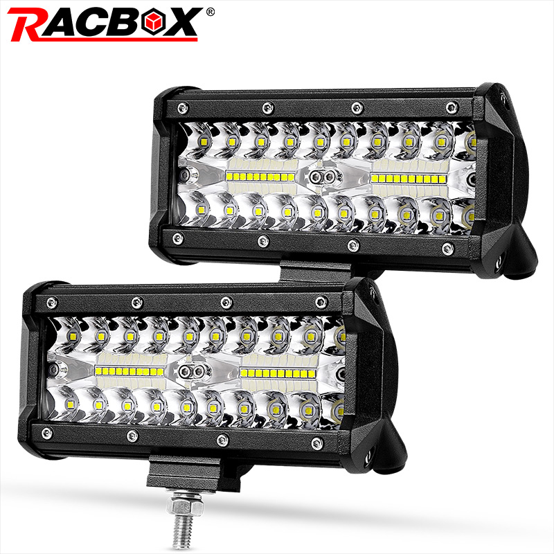 7 Inch Tri-Row LED Light Bar Work Lamp Headlight Beam 12V 24V For UAZ 4x4 Tractors Car Truck Off Road ATV Rampe Boat Driving Fog