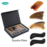 Cofoe Gua Sha Plate Buffalo Horn Guasha Board Traditional Scraping Massage Tools Chinese Medical Treatment Scraper Kit 6 PCS