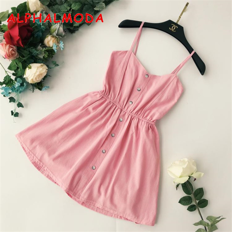 ALPHALMODA 2018 Chic Sling Playsuits Solid Color Single Breasted High Waist Holidays Casual Short Rompers Stretchy Waist Jumpers