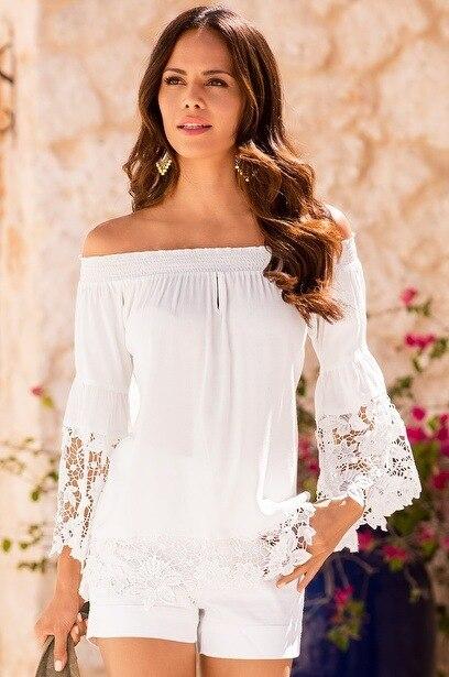 0ccde2a774a0b9 White Black Pure Cotton Women Off Shoulder Top Shirt Loose Hollow out Lace  Crochet Long Sleeve