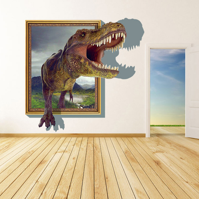 Buy 3d window through dinosaur wall for Sticker mural 3d