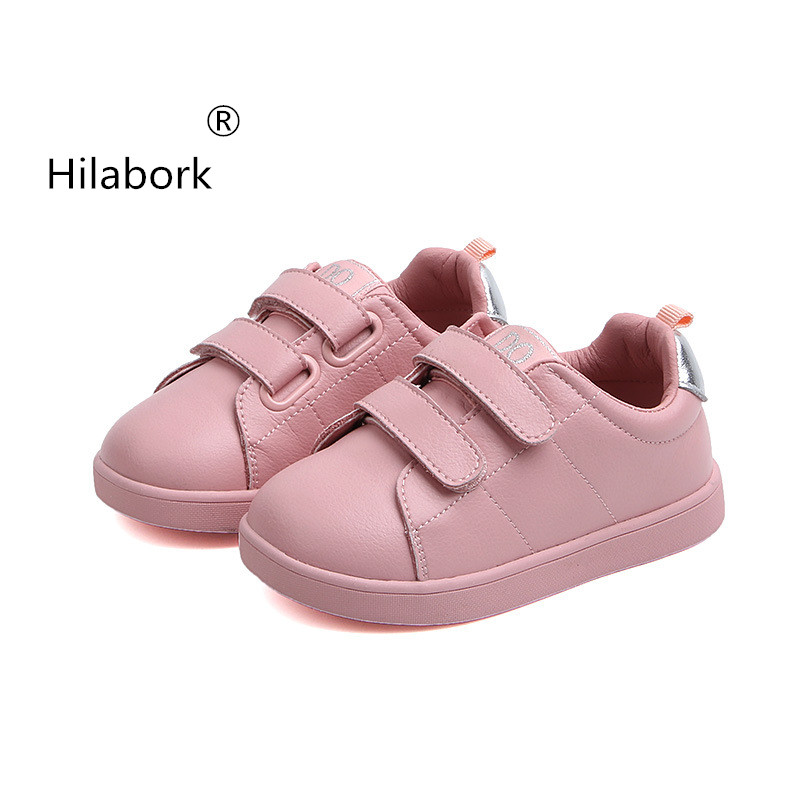 fe791124380 Hilabork Girls leather shoes 2019 spring new girls shoes boys and girls  leather casual shoes breathable
