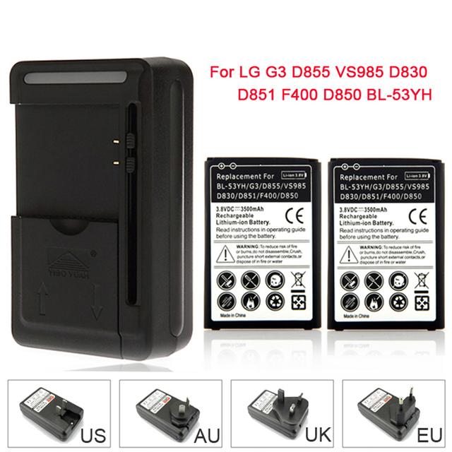 Alta capacidad 2 x 3500 mAh de la batería de reemplazo + cargador de pared para BL-53YH / LG G3 D855 VS985 D830 D851 F400 D850 Batteria