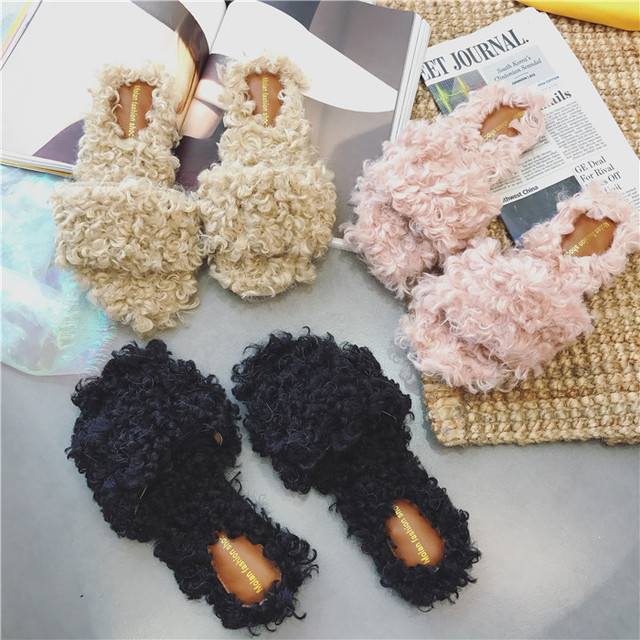 2017 Winter Warm Women Plain Sheep Fur Slides Mules Furry Flip Flops Sandals Chiara Ferragni Slippers Slipony Ladies Shoes