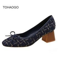 цена на 2019 spring new high heel women color matching bow square head heels Fashion mid heel work women's shoes women pumps obuv