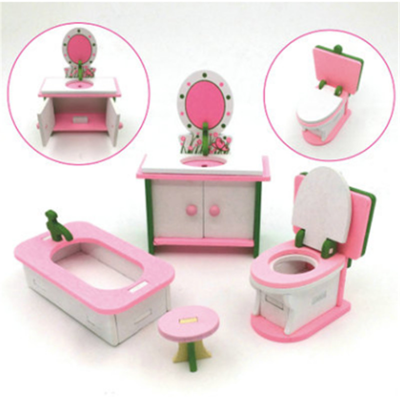 New Hot Lovely DIY Handmade Doll House Kids Role Pretend Playing Toy Miniature Bedroom Wooden Furniture Set Gifts For Children