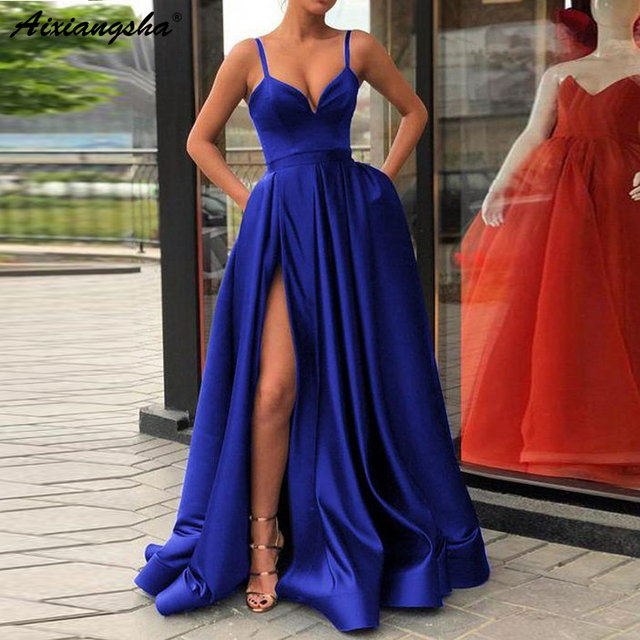 Custom Made A Line Royal Blue Spaghetti Straps Sweetheart Prom Dress with High Slit Satin Long Evening Gown 2019 1