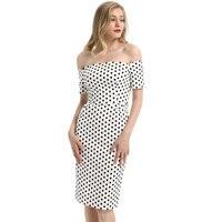 Midi Bodycon Sexy Casual Formal Women's Ladies Waved neckline Dress Polka dots Printed Pencil Slim fit Fashion