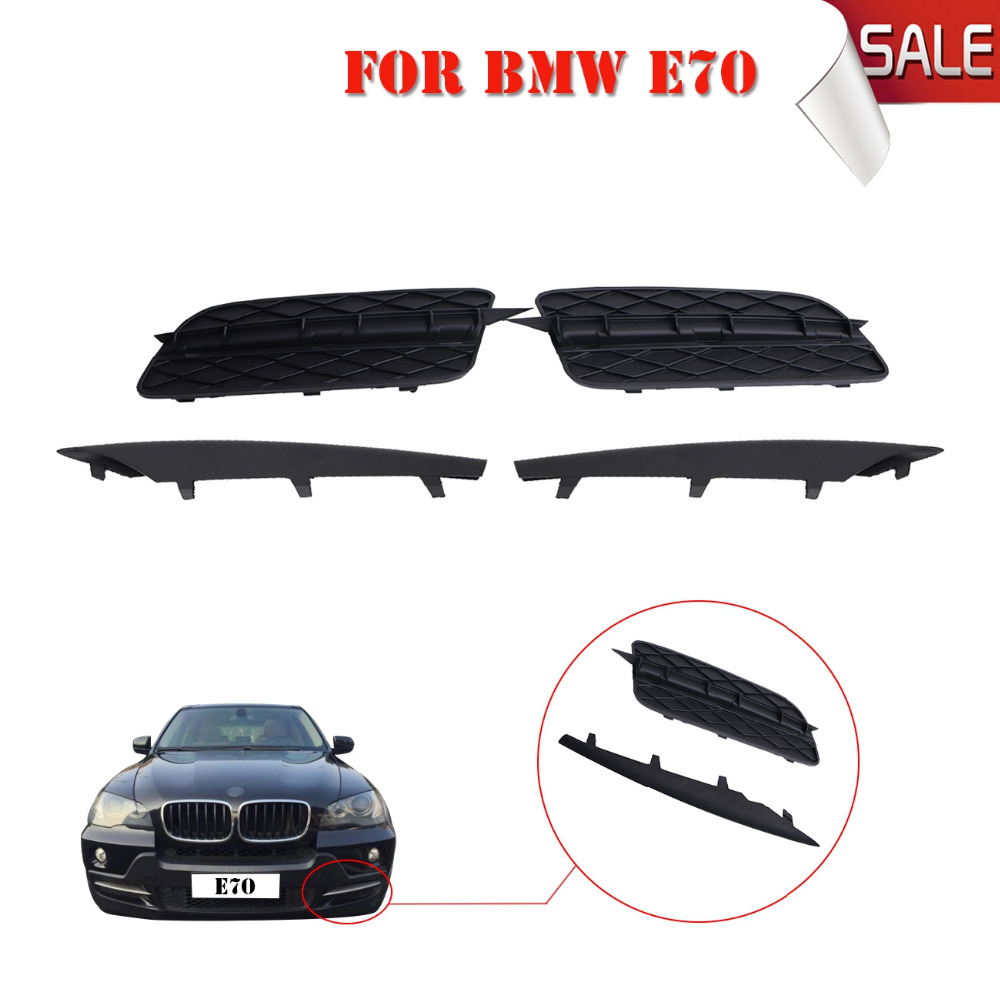 ФОТО 2x ABS Car Front Bumper Lower Grill Grille Grid Set With Trim Molding For BMW X5 xDrive Sprot E70 2007 2008 2009 2010 #W135