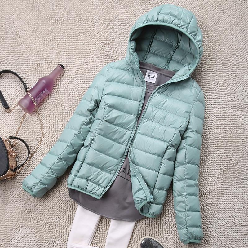 Sanishroly S-4XL Autumn Winter Women White Duck Hooded Down Jacket Female Ultra Light Down Coat Parkas Short Tops Plus Size S435