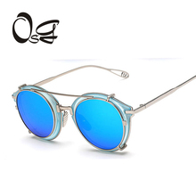 OSG Retro Double Flip Punk Sunglasses For Unisex Sunglass Vintage Designer Sun Glasses Man Woman Removable oculos de sol