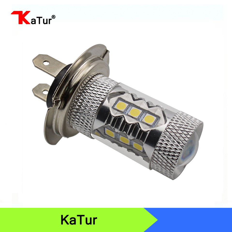 High Power H7 80W 16SMD LED Car Auto H7 LED Driving Fog Tail Headlight Light Daytime Running Light Bulb White DC12V 1pcs high power h3 led 80w led super bright white fog tail turn drl auto car light daytime running driving lamp bulb 12v