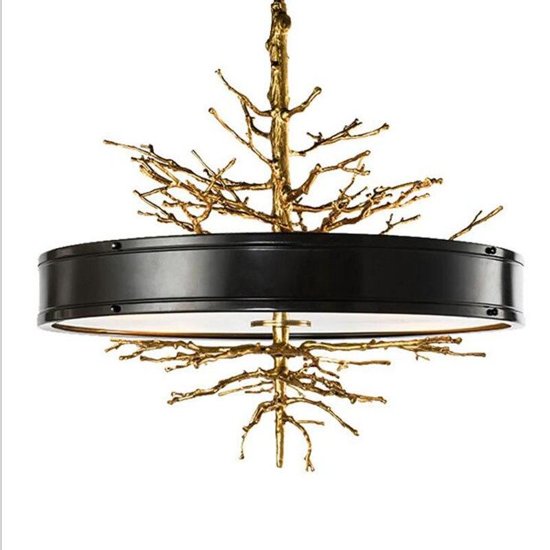 Art créatif américain rétro escalier salon salle à manger lampe design postmoderne lumière luxe cuivre lustre lampe à LED