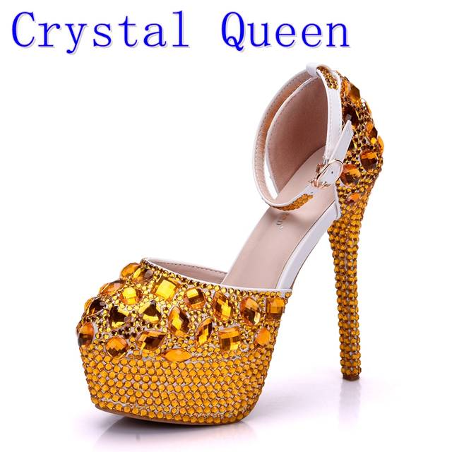 placeholder Crystal Queen Wedding Shoes Bridal Sandals Women Girl Gold  Glitter Fake Crystal Evening Party Dress Shoes 3b320c8f01ef