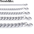 Trendsmax Stainless Steel Necklace Curb Cuban Link Silver Color Mens Chain Fashion Jewelry KNM07