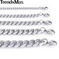 Trendsmax collar de acero inoxidable color plata para hombre joyería de cadena del encintado cuban link knm07