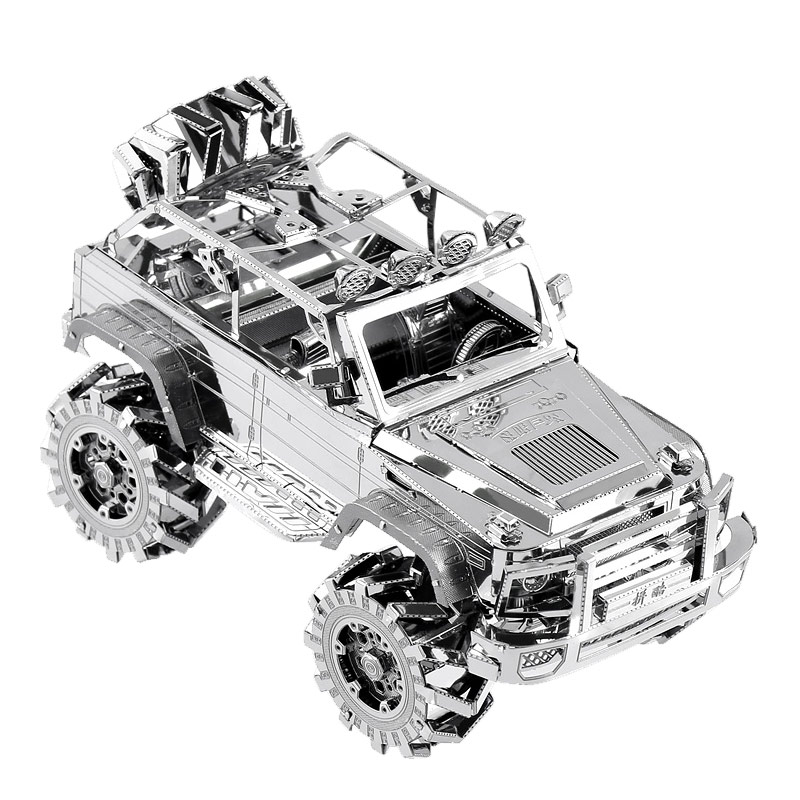 P078-S 3D Metal Puzzle SUV Off-Road Vehicle Building DIY Laser Cut Kits Educational Toy Model Gift For Kids Adult qiyun 3 d wooden puzzle children and adult s educational building blocks puzzle toy pig model