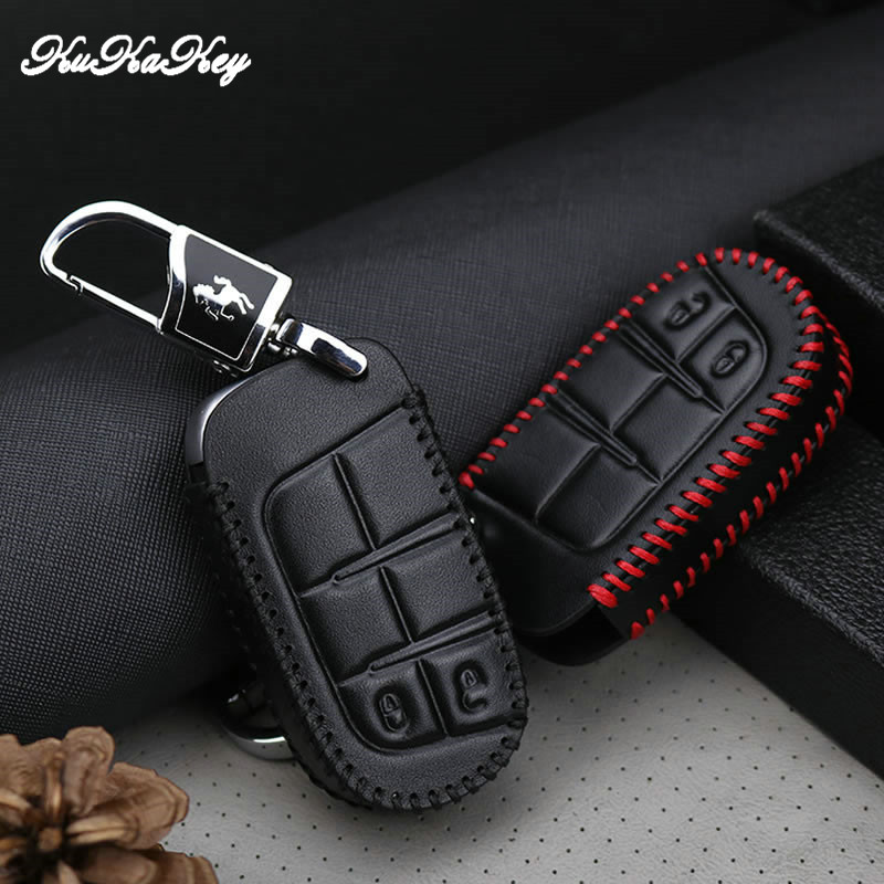 Leather Remote Smart Key Cover Fob Case Shell For Fiat For Jeep Renegade 2014 2015 Grand Cherokee Chrysler 300C Car Accessories in Key Case for Car from Automobiles Motorcycles