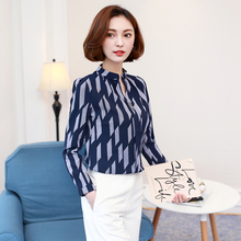 The Spring of 2017 New Women Tops Casual V Collar Chiffon Blouse with Long Sleeved Blooming Temperament Shirt Printing 01D 30