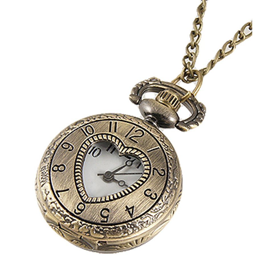 Cut Out Heart Hunter Case Necklace Pocket Watch Bronze Tone For Ladies