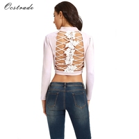 Ocstrade New Jacket Women 2017 Blush Open Back AND Lace Up Party Suedette Jacket