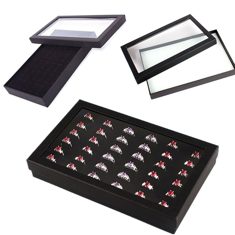 1Pc Hot New 36 Slots Ring Box Jewelry Organizer Tray Earring Case Display Box Storage 21.7*13.5*3cm