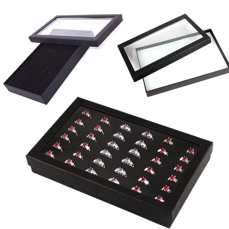 1Pc Hot New 36 Slots Ring Box Jewelry Organizer Tray Earring Case Display Box Storage 21.7*13.5*3cm