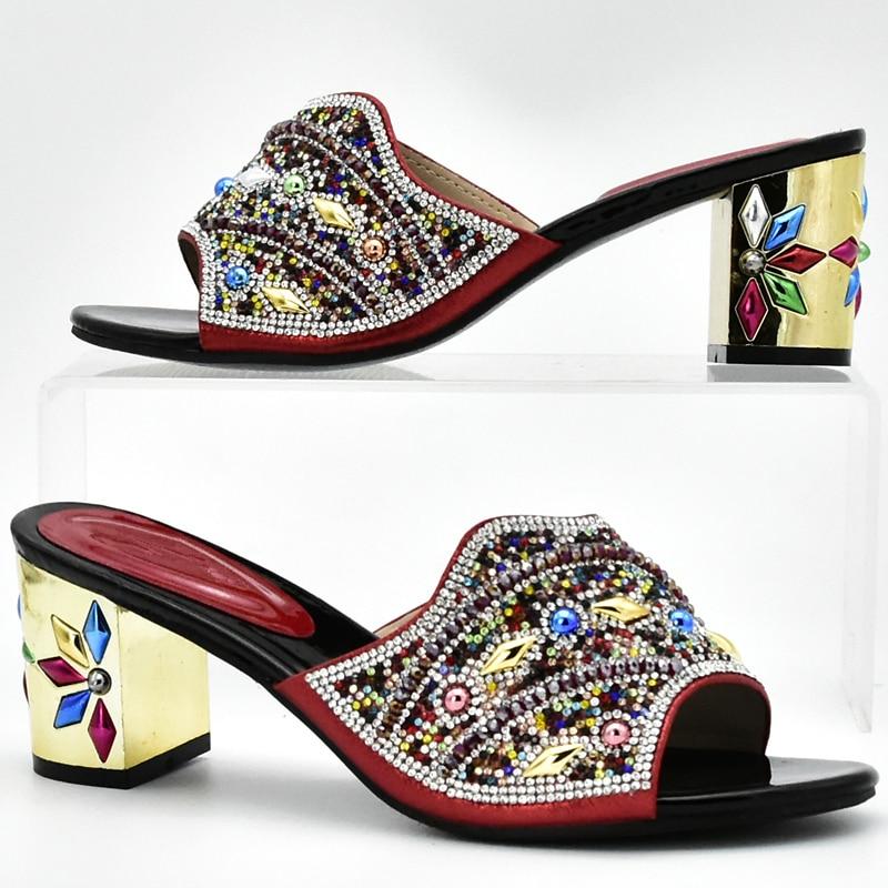 Afrikanischen Neueste Strass Nigerian Gold Schuhe Sets Mit Dekoriert Farbe Party Tasche Italienischen In fuchsia Rot Passenden königliches red Blau purple Frauen Und Taschen aaqvnrEwT