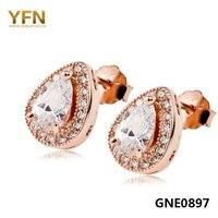 GNE0897 100% Prawdziwa Czysta 925 Sterling Silver Stadniny Kolczyki Moda Biżuteria Złota Róża Kolor Water Drop Projekt Kolczyki Dla Kobiet