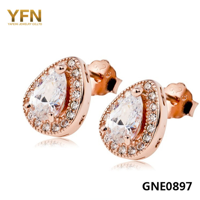 GNE0897 100% Real Pure 925 Sterlin Silver Stud Earrings Fashion Jewelry Rose Gold Plated Water Drop Design Earrings For Women