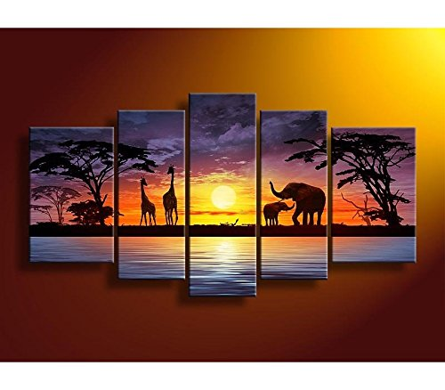 Peint à la main 5 pcs Ensemble Africain Éléphant Peinture Coucher Du Soleil Paysage Toile Peinture Multi Panneau Mural Décor Décoration de La Maison