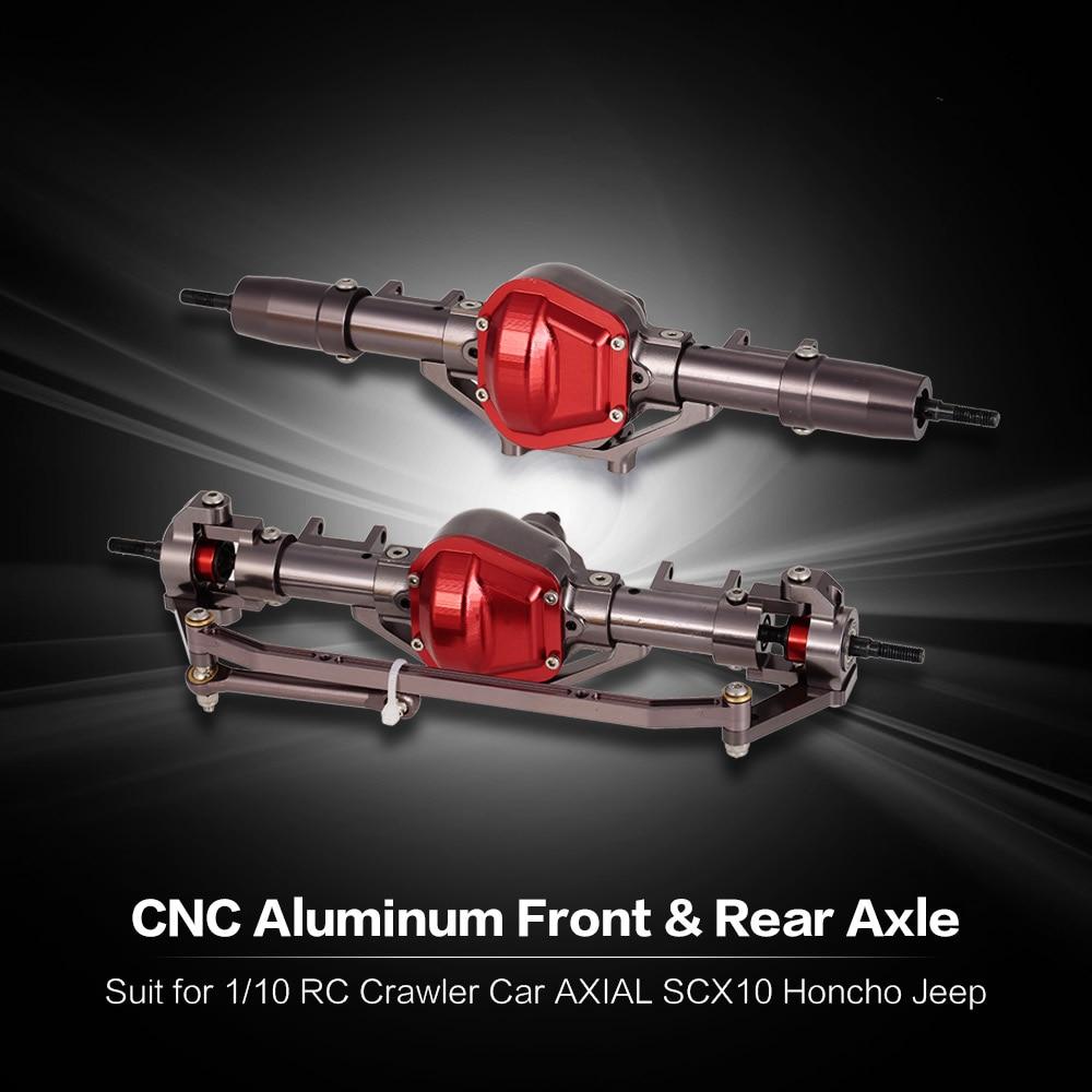 Eje delantero y trasero de Metal de aleación de aluminio CNC con engranaje de acero para coche RC 1/10 RC orugas coche AXIAL SCX10 montaje DIY de coches Honcho-in Partes y accesorios from Juguetes y pasatiempos    2