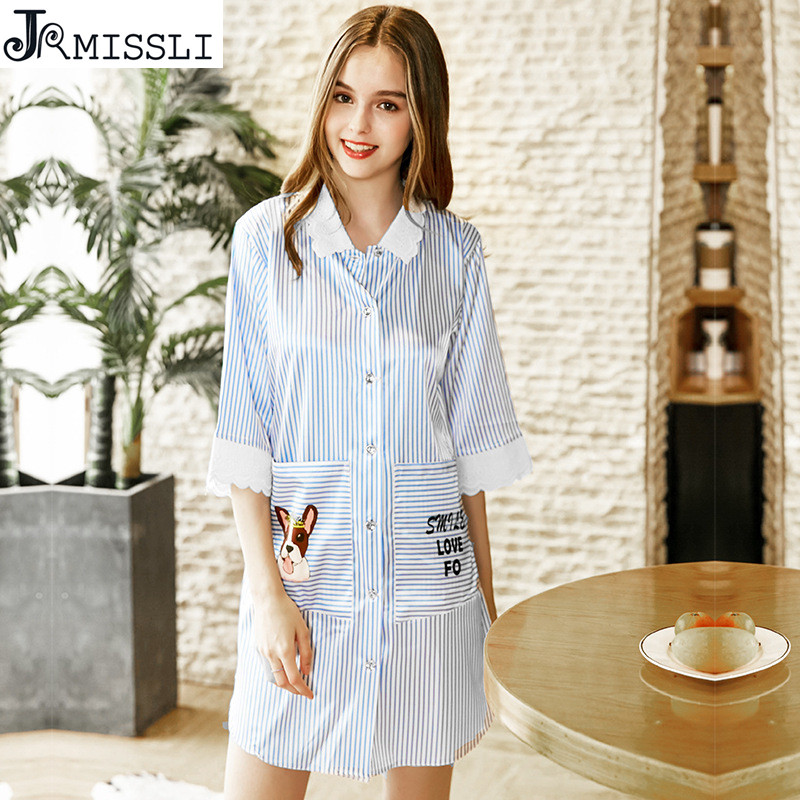 JRMISLI Sexy Lingerie Lace Striped Women Sleepwear Female Silk Nightgown Lenceria Femenina Dress Summer Night Dress
